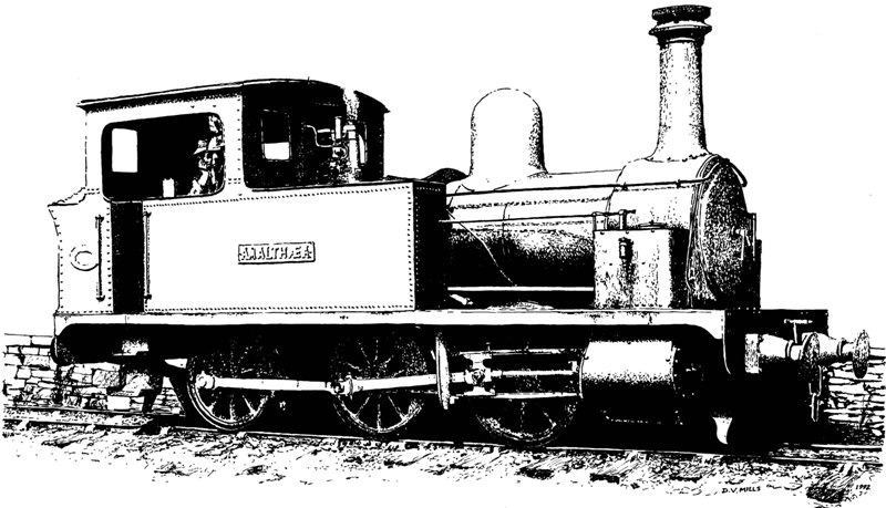 Pen and ink sketch of 4ft gauge Hunslet loco